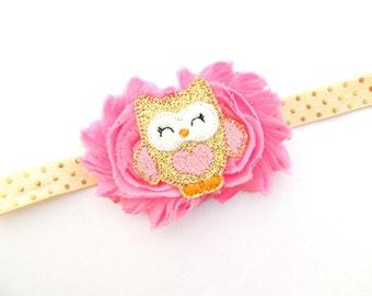 Pink owl headband - Glitter owl bow - Owl hair clip - Baby girl headband - Dainty headband - Small headband - Owl birthday - Baby girl owl