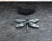 Spring Sale 10% Dragonfly Brooch in silver pewter