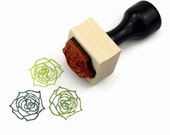 Rubber Stamp Blooming Succulent Plant - Cactus Wood Mounted Stamp - Ready to Ship / In Stock