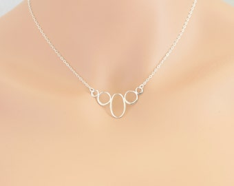Oval & Circle Festoon Necklace Sterling Silver Birthdays, Anniversary, Friends, Weddings