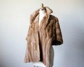 1950s vintage stole / honey blonde mink fur stole / fur wrap