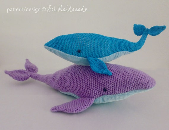 Crochet Amigurumi Blue Whale : Amigurumi Crochet Pattern Whale PDF Blue Whales amigurumi