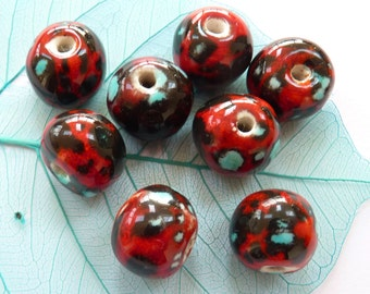 Ceramic beads ~ 8 handmade red, black, turquoise bone china clay beads, glazed bead set jewelry making components, handmade ceramic beads