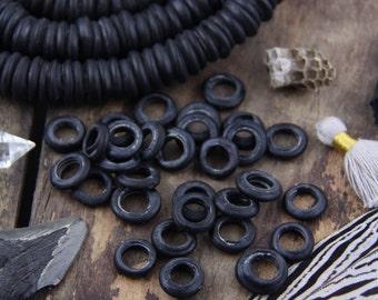Matte Black Dutch Donut Dogan Beads, Mali, Africa, Large Hole Glass Beads, Neutral Fall Boho Tribal 11-12mm, Jewelry Making Supply, 10 pcs