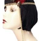 Flapper Headband Burgundy Red Roaring 20's Gatsby Showgirl Feather Fascinator