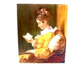 Vintage Oil Painting The Reader Study after Jean-Honore Fragonard French Master Framed Art A Young Girl Reading