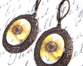 Autumn Harvest Buttercup Cameo Earrings - Modern Antiquity by SPDJewelry