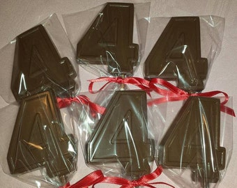 Number 4, Birthday, Number Four, Chocolate Lollipops, Favors, Party, Centerpiece, Candy Table, #4