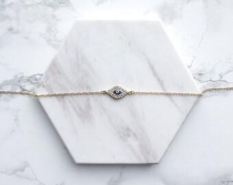 SALE Delicate Choker Necklace, Pave Evil Eye Choker Necklace, Gold Delicate Necklace, Minimal Choker Necklace, Modern Choker Necklace, Eye