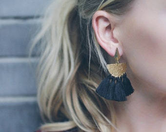 Fringe Earrings, Tassel Earrings, Modern Earrings, Statement Earrings, Drop Earrings, Colorful Earrings, Navy Earrings, Black Earrings