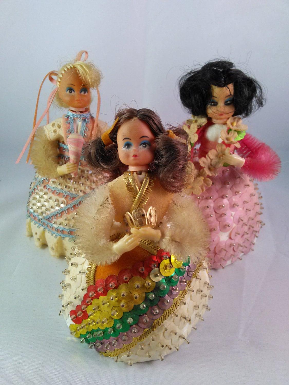 vintage 1970s li l beaded doll