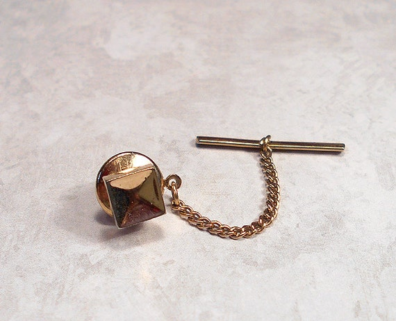 Square tie tack lapel pin swank vintage gold tone by for What is swank jewelry