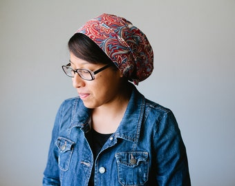 Red Damask Snood Headcovering | Women's Headcovering Veil