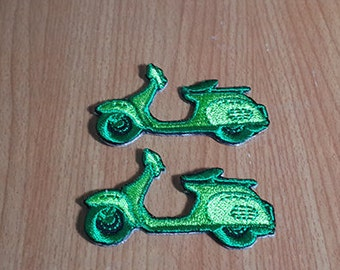 """Set 2 pcs Little Green Vespa Scooter Embroidered Iron on Patch size 2 1/8"""" x 1 1/8"""""""