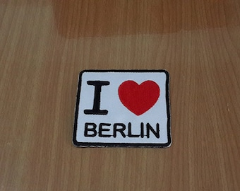"""I Love Berlin Iron on Patch Embroidered size 2 3/8"""" x 2 5/16"""""""