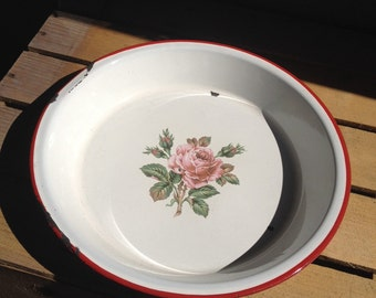 Vintage Round Enamel Tray White Pink Rose Red Rim ~ #5589