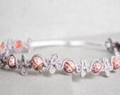 Pastel Ladybug Crown - Hand Painted Pink Ladybug Crystal Crown - Whimsical Fairy Crown - Elastic Pastel Ladybug Headband - Pink And Purple