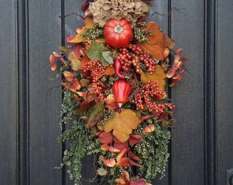 Fall Wreath-Thanksgiving-Autumn Teardrop Vertical Door Swag Decor-Burlap Hydrangea-Pumpkin-Gourds-Green Berry Branch-Indoor-Outdoor Decor