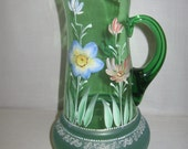 Green Pitcher Part Frosted Part Clear with Hand Painted Flowers & Leaves Design Gold Trim