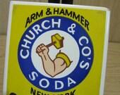 Church  Co's Soda New York Arm & Hammer Tile 4 Rubber Legs 1982