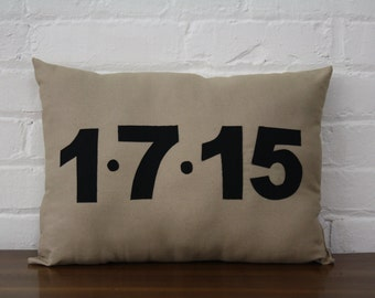 Save the Date Pillow Custom Date Pillow Wedding Pillow Anniversary Birth Announcement Personalized Pillow.