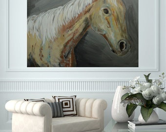 Large Horse Head Art Palomini Western Cowboy Equine Equestrian Art 30x24-by MyImaginationIsYours