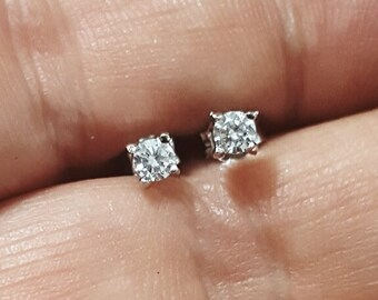 Tiny stud earrings. Tiny diamond studs. Minimalist stud earrings. April birthstone. Sterling silver and Cubic Zirconia studs. Child studs.
