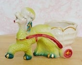 Vintage Poodle Planter in Green and Pulling a Cart