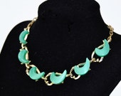 Vintage Necklace with Green Thermoset Crescent Moon-Style Adornments