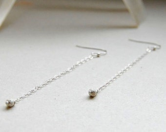 Bridal Earrings - Chain Dangles - Sterling Silver Earrings - Bridal Jewelery - Wedding Jewelry - Gift for Her