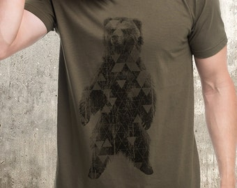 Men's Grizzly Bear and Triangles T-Shirt - Men's Screen Printed T-Shirt - American Apparel