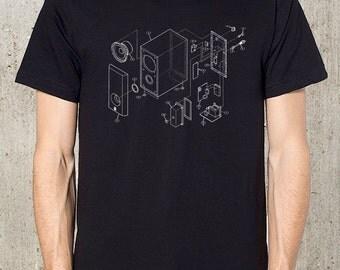 Music Speaker Diagram T-Shirt - Blueprints - Men's T-Shirt - Available in S, M, L, XL and 2XL