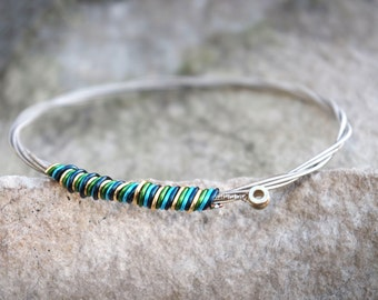 Guitar String Bangle in Ocean Blues and Gold