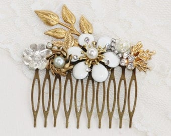 Antique Ivory Rhinestone & Pearl Bridal Hair Comb,Upcycled Eco Couture,Antique Brooch Earrings,Pearl Clear Crystal,Weddings,Bridal,OOAK