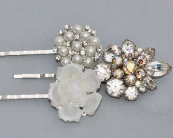Authentic Vintage Silver Rhinestone & Pearl Bridal Hair Pins,Repurposed Earrings,Brooches,Ivory Pearl,Off White,Something Old,Set of Three