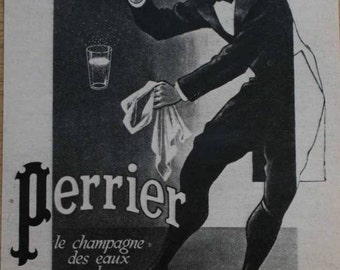 Original French Vintage Ad Perrier 1947 by A.M. Cassandre Very rare!