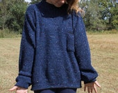 Sweater Blue Mock Neck So Free You may be Nude under it