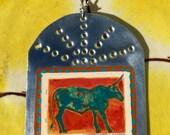 Santa Fe Long - Looking for a Savior  - Retablo - Southwestern Christmas Ornament - Tin Ex Voto / MilagrO - Cathy DeLeRee