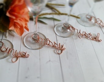 Wire Wine Charms - Rustic Wine Charms - Personalized Wine Charms - Name Wine Charm - Custom Wine Charm - Champagne Charm - Wine Accessory