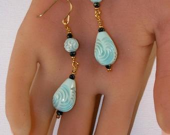 Teal Earrings - Drop Style - Upcycled Antique Jewelry - 2.5 Inch Long Beaded Earrings - Lightweight Earrings - Wire Wrapped Earrings