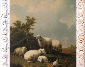 Fab Sheep Landscape Art Print, Framed in Shabby White Frame, Print on Canvas