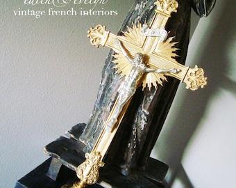 OMG, Lg Church Processional Cross, Antique, Ornate Brass, Acanthus Leaf, Sunburst, Silverplate Corpus