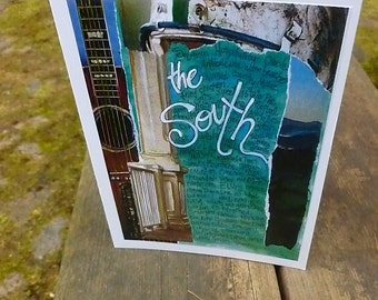 THE SOUTH, Card, Southern Gift, Southern Card, Greeting Card, Note Card, Southern US, Mixed Media Art Card by Seattle Artist Mary Klump