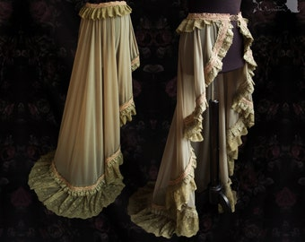 Art nouveau skirt, olive grey green wrap, romantic lace Regina, Somnia Romantica, approx size see item details for measurements