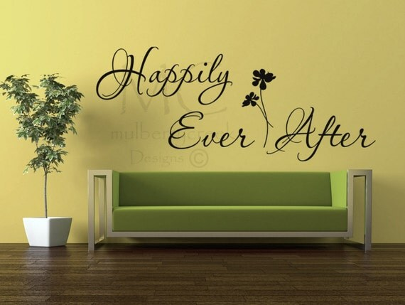 Vinyl Decal Happily Ever After - Wedding Decal - Vinyl Wall Decal Happily Ever After - Bedroom Wall Decal - Wedding Gift Decals -
