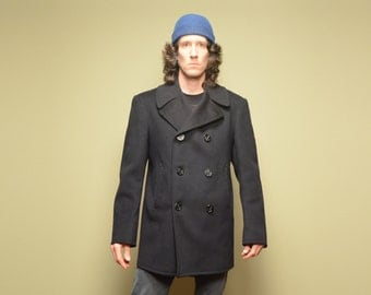 vintage 60s Navy issue pea coat peacoat dated 1965 shoulder patch corduroy pockets 1960 wool winter coat 40 40R M/L