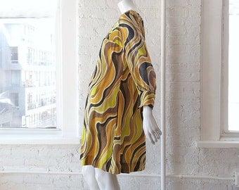1960s Black White Yellow Striped Babydoll Tent Dress 60s Vintage Op Art Psychedelic Swirl Cotton Boho Shift Dress Medium Mod Trapeze Dress