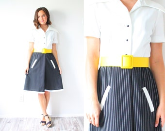 Vintage black and white pin striped dress // color block midi dress // 1970's dress // two toned color block // yellow belt collared dress
