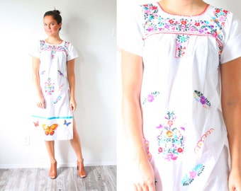 Vintage Mexican embroidered dress // floral butterfly dress // white Mexican summer // hippie dress // embroidered dress // wedding dress
