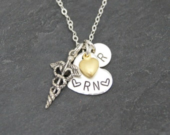 RN Graduation Gift, Nurse Graduation Gift, Sterling Silver, RN Necklace, Personalized Nurse Necklace, Nurse Mom Gift, Medical Student Gift